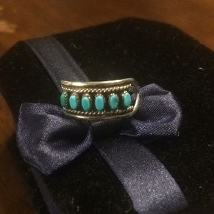 Jewelry - Turquoise and Sterling Ring about Size 5 1/2